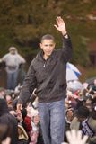 US Senator Barack Obama. Speaking at podium in pouring rain at Presidential Rally on October 28, 2008, at Widener University in Chester, PA Royalty Free Stock Photos