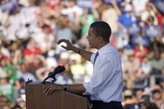 US Senator Barack Obama. Speaking from podium at Early Vote for Change Presidential rally, October 25, 2008 at Bonanza High School, Judy K. Cameron Stadium in Stock Image
