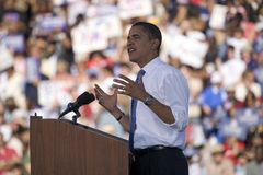 US Senator Barack Obama. Speaking from podium at Early Vote for Change Presidential rally, October 25, 2008 at Bonanza High School, Judy K. Cameron Stadium in Stock Images