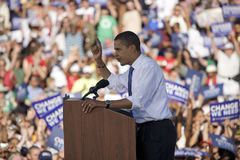 US Senator Barack Obama. Speaking from podium at Early Vote for Change for Presidential rally, October 25, 2008 at Bonanza High School, Judy K. Cameron Stadium Royalty Free Stock Photography