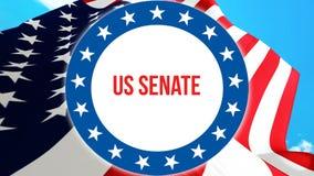 US-Senatswahl auf einem USA-Hintergrund, Wiedergabe 3D Staaten von Amerika fahnenschwenkend im Wind Abstimmung, Freiheits-Demokra stock abbildung