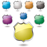 Us shield. Collection of eight different colored shield with drop shadow Royalty Free Stock Photo