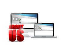 About us sign and electronics illustration Royalty Free Stock Photography