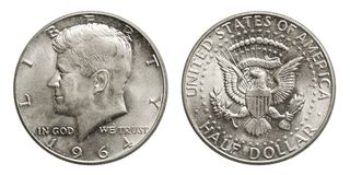 US silver coin half dollar Kennedy 1964 stock images