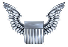 US Silver Shield with Wings Royalty Free Stock Photography