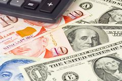 US and Singapore currency pair. Commonly used in forex trading with calculator Royalty Free Stock Images