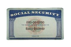 Baby Boomer Social Security. US Social Security card with Baby Boomer text, isolated on white stock photos