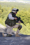 US soldier. Shot of a young soldier. Uniform conforms to special services(soldiers) of the NATO countries stock photography