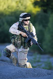 US soldier. Shot of a young soldier. Uniform conforms to special services(soldiers) of the NATO countries stock image