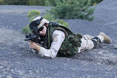 US soldier. Shot of a young soldier. Uniform conforms to special services(soldiers) of the NATO countries stock images