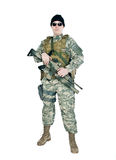 US soldier. Holding his assault rifle royalty free stock image