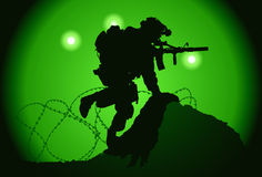 US soldier. Used night vision goggles Royalty Free Stock Photos