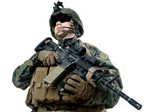 US soldier. With assault rifle stock image