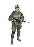 US soldier. With his assault rifle on white background Royalty Free Stock Images