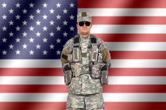 Us soldier. On american flag background royalty free stock photography
