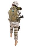 US soldier with anti-tank rocket launcher RPG Royalty Free Stock Images