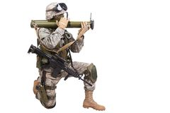 US soldier with anti-tank rocket launcher RPG Royalty Free Stock Photography