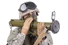 US soldier with anti-tank rocket launcher Stock Photography