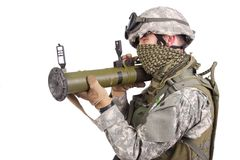 US soldier with anti-tank rocket launcher Stock Image