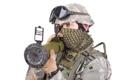 US soldier with anti-tank rocket launcher Stock Photos