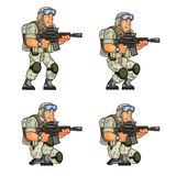 US Soldier Crouching Sprite. Vector Cartoon of US Soldier Animation Sequence Sprite Sheet Stock Photo
