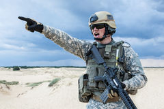 US soldier. In the desert during the military operation royalty free stock photos