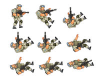 US Soldier Dying Sprite. Vector Cartoon of US Soldier Animation Sequence Sprite Sheet Royalty Free Stock Photo