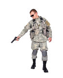 Us soldier with gun Stock Photo
