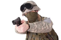 US soldier with hand gun Stock Photos