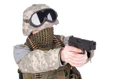 US soldier with hand gun Royalty Free Stock Photography