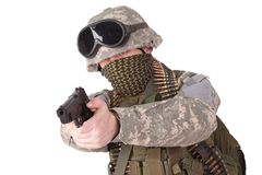 US soldier with hand gun Royalty Free Stock Photos
