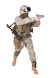 US soldier with hand gun on white background Royalty Free Stock Images