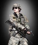 US soldier holding gun Royalty Free Stock Photo