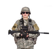 US soldier holding rifle Royalty Free Stock Photos