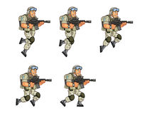 US Soldier Jumping Sprite. Vector Cartoon of US Soldier Animation Sequence Sprite Sheet Stock Photography