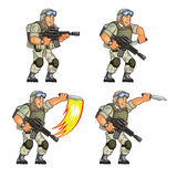 US Soldier Knife Attack Sprite. Vector Cartoon of US Soldier Animation Sequence Sprite Sheet Royalty Free Stock Images