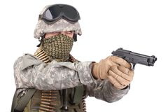 US soldier with m92 handgun on white background Royalty Free Stock Photography