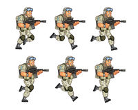 US Soldier Running Sprite. Vector Cartoon of US Soldier Animation Sequence Sprite Sheet Stock Images
