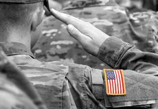 US soldier salute. US army. US troops.  stock photography