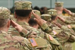 US soldier salute. US army. US troops. Military of USA.  stock photos