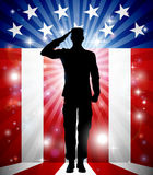 US Soldier Salute Patriotic Background Royalty Free Stock Photos
