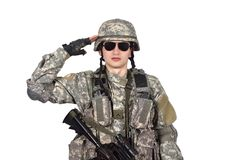 US soldier salutes Royalty Free Stock Image