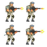 US Soldier Shooting Sprite. Vector Cartoon of US Soldier Animation Sequence Sprite Sheet Royalty Free Stock Photography