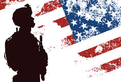 US soldier. Silhouette of US soldier with the American Flag on the background