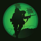 US soldier. Used night vision goggles Stock Images