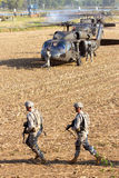 US soldiers helicopters Stock Photography