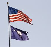 US and South Carolina Flags royalty free stock image