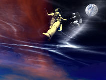 US Space 26. A conceptual image of 2 spaceman or astronauts floating in space Stock Photo