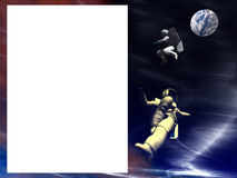 US Space 29. A conceptual image of  2 spaceman floating in space with a blank space for a sign Stock Images