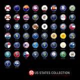 US-Staats-Flaggen-runde Ausweise Alle 50 Flaggen der US-Staaten in einer einzelnen Vektor-Datei Realistische glatte Knöpfe 3D Lizenzfreie Stockfotos